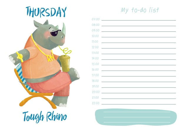 Daily planner with illustration of cute cartoon tough rhino. my day to-do list on thursday Premium Vector