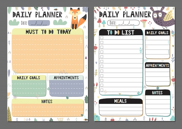 Daily planners collection  to do list set with a cute owl