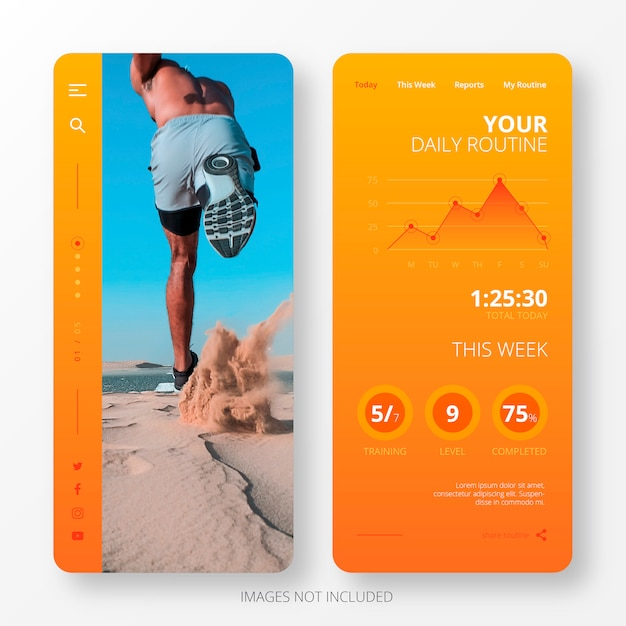 Daily routine app template for mobile screen Free Vector