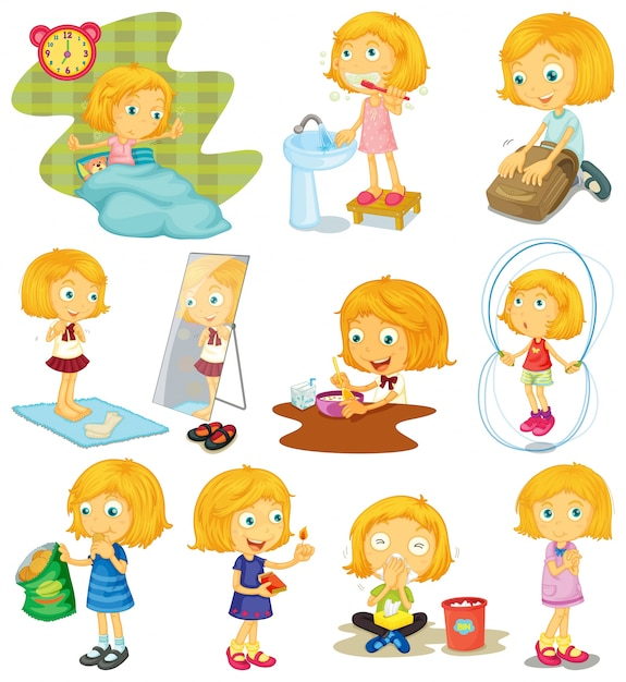 Daily Routine Of A Girl Illustration Vector Free Download