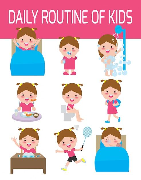 Распорядок дня счастливых детей. инфографический элемент. здоровье и гигиена, ежедневные занятия для детей, иллюстрации. Premium векторы