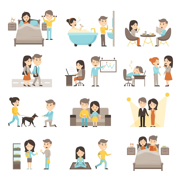 Daily routine people set Free Vector