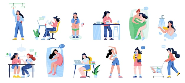 Daily routine of a woman set. girl having breakfast in the morning, work and sleep. businessman schedule. working in office on computer.   illustration in  style Premium Vector