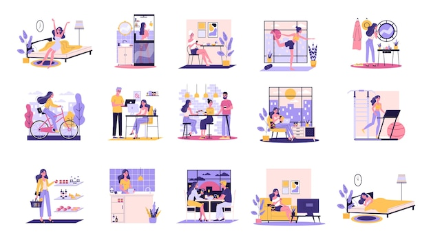 Daily routine of a woman set. girl having breakfast in the morning, work and sleep. businessman schedule. working in office on computer.   illustration Premium Vector
