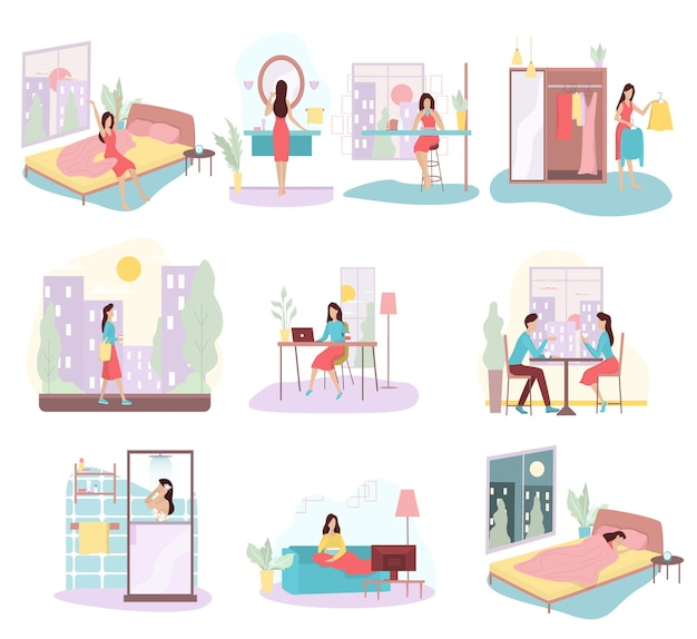 Daily routine of a woman set. girl having breakfast in the morning, work and sleep. businesswoman schedule. working in office on computer.   illustration in cartoon style Premium Vector