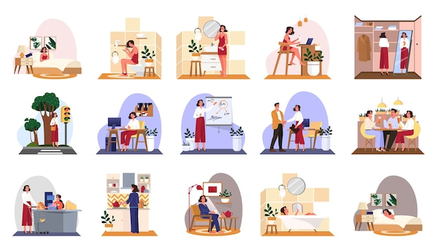 Daily routine of a woman set. girl having breakfast in the morning, work and sleep. businesswoman schedule. working in office on computer.   illustration Premium Vector