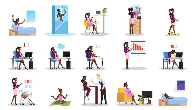 Daily routine of a woman set. girl having breakfast Premium Vector