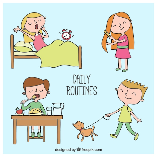Daily Routines Drawings Vector Free Download