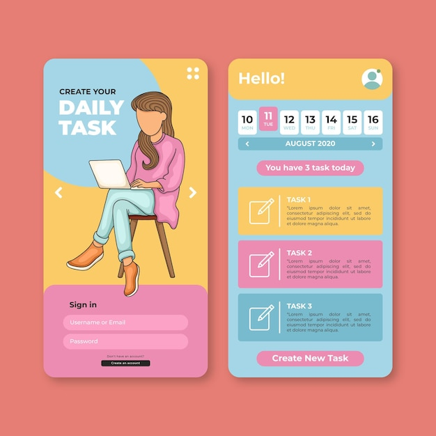 Daily tasks on task management mobile app Free Vector