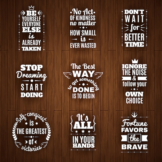 Daily wisdom and motivation quotes set Free Vector
