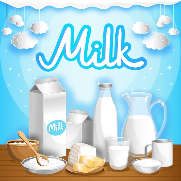 Dairy advertising with milk products Premium Vector