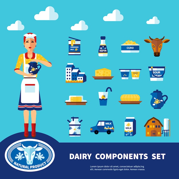 Dairy components set Free Vector