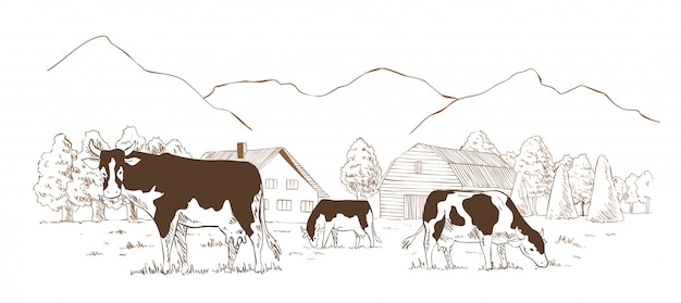 낙농장. 시골 풍경, 마을 빈티지 스케치 프리미엄 벡터