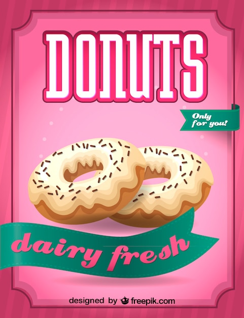 Dairy fresh donuts sign Free Vector