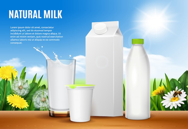 Dairy packaging realistic composition Free Vector