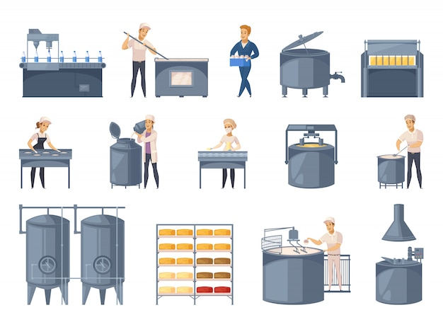 Dairy production element set Free Vector