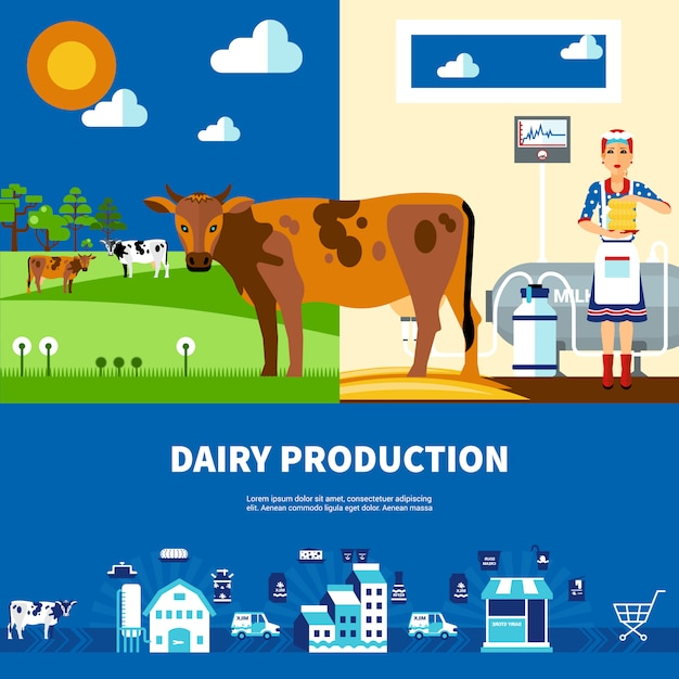 Dairy production set Free Vector
