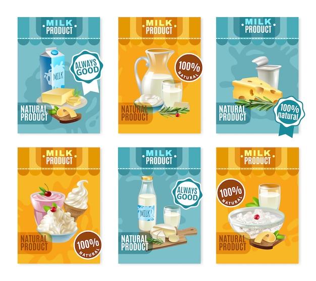 Set di banner di prodotti lattiero-caseari Vettore gratuito