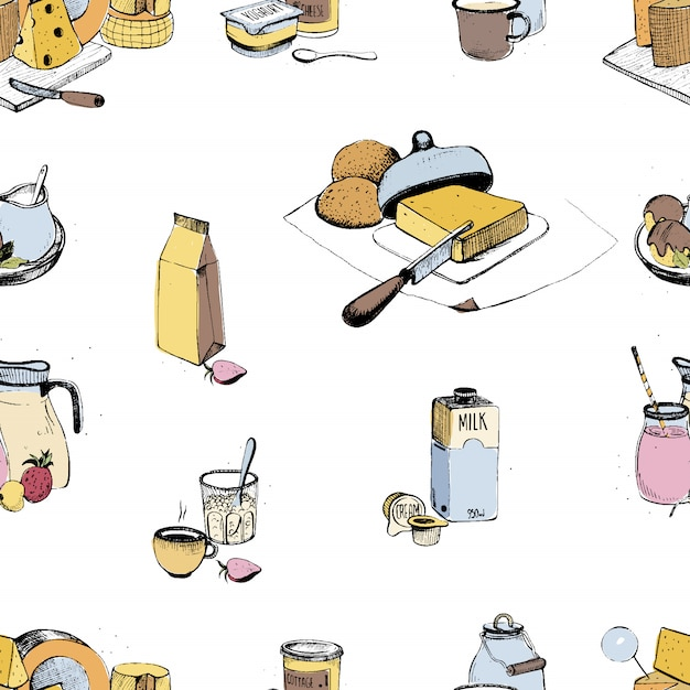 Dairy products hand drawn seamless pattern. milky farming assortment. colorful illustration on white background. Premium Vector