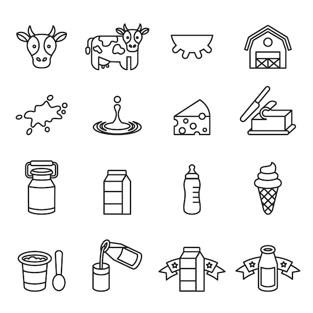 Dairy products icons set Premium Vector