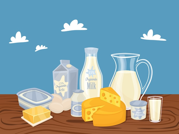 Dairy products isolated Premium Vector