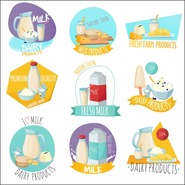 Dairy products set of logos Free Vector