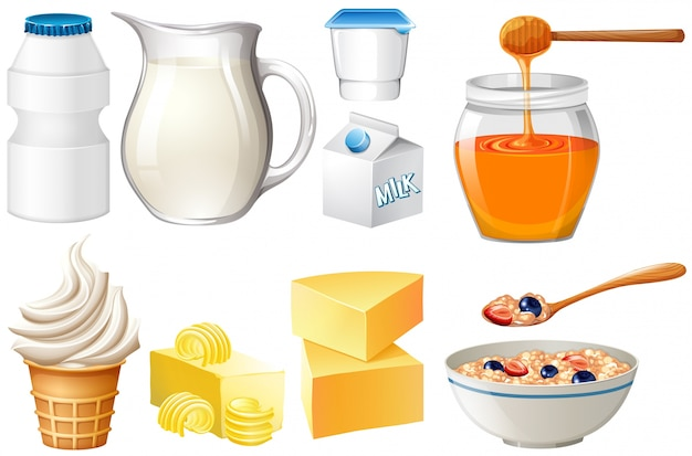 Dairy products set with milk and honey illustration vector