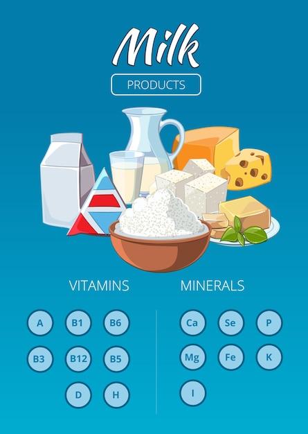Infographics di vettore di prodotti lattiero-caseari. latte alimentare fresco, bevanda nutritiva e illustrazione di formaggio Vettore gratuito