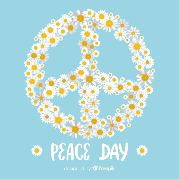 Daisies floral peace sign background Free Vector