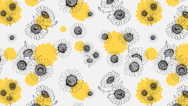 Daisies seamless handdrawn pattern Premium Vector