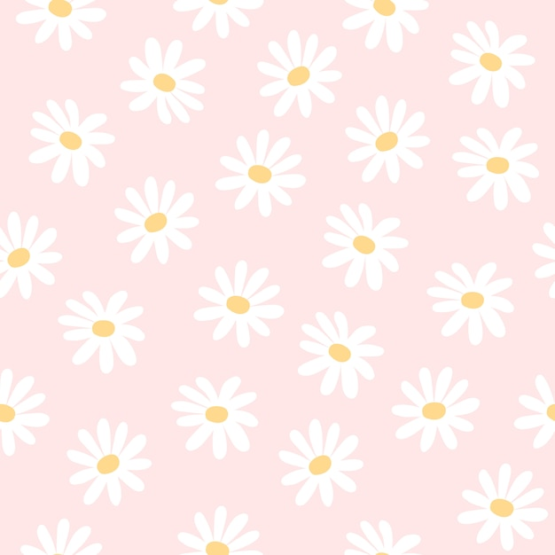 Daisy flowers seamless pattern background Premium Vector