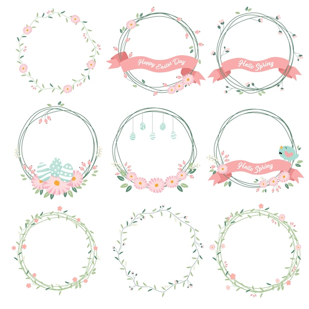 Daisy spring and easter flower wreath collection Premium Vector