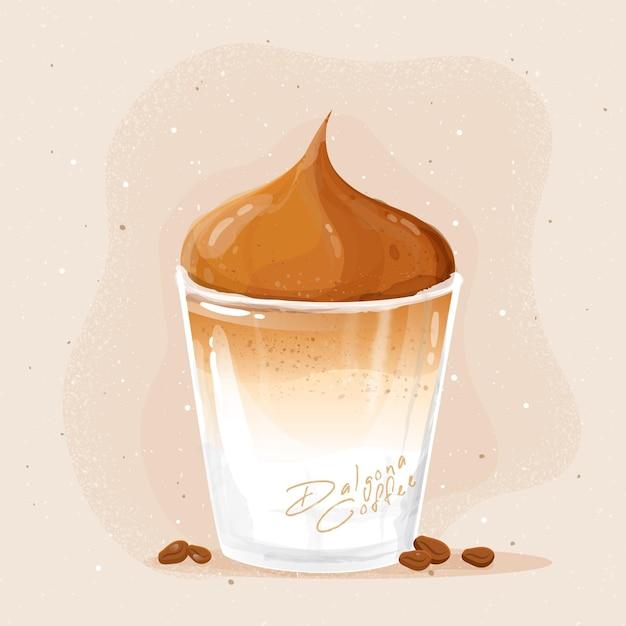 Dalgona coffee in glass illustration Free Vector