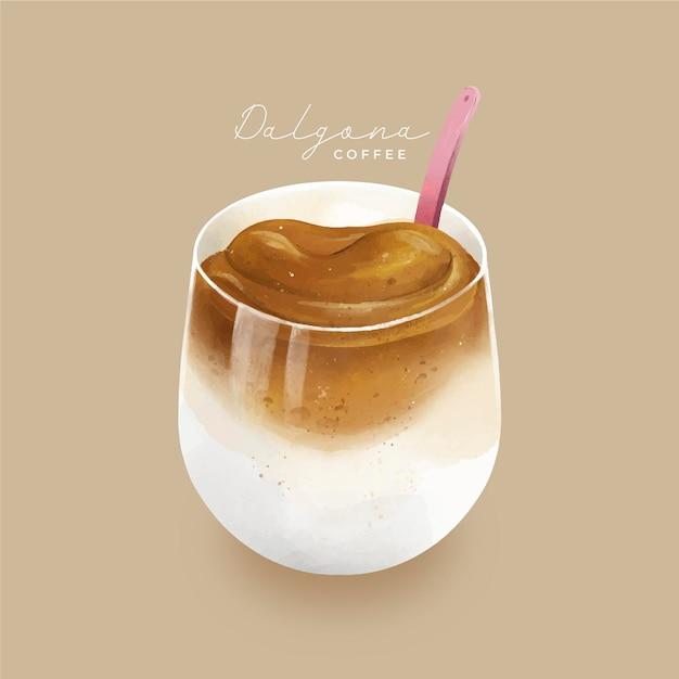 Dalgona дизайн кофейной иллюстрации Бесплатные векторы