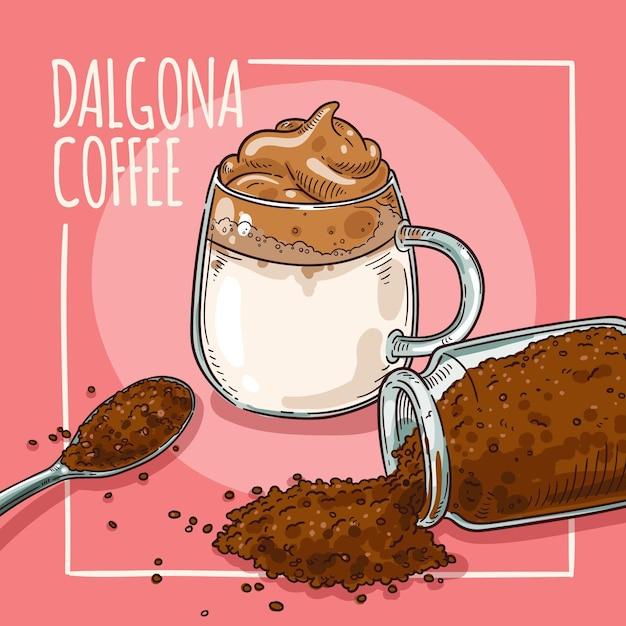 Dalgona coffee illustration design Free Vector