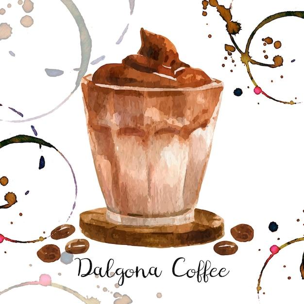 Иллюстрация кофе дальгона в акварели Бесплатные векторы