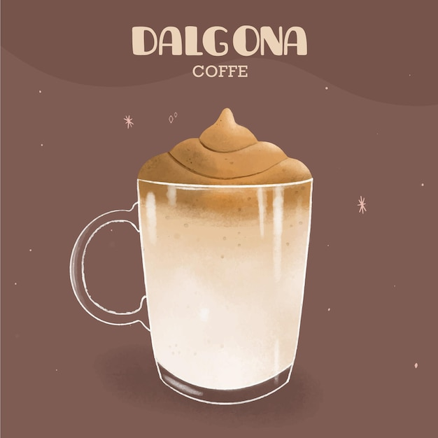 Dalgona coffee illustration Free Vector