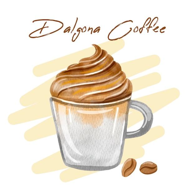 Dalgona coffee illustration Free Vector