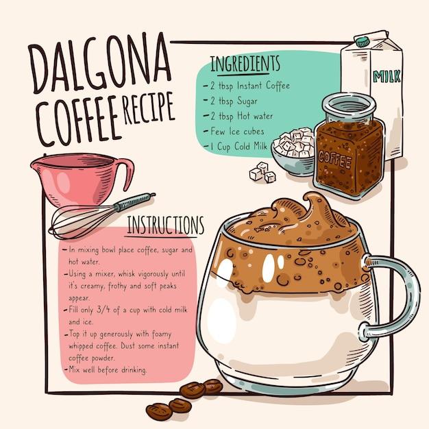 Dalgona coffee recipe   Free Vector