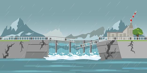 Dam collapse and heavy rain drops. Premium Vector