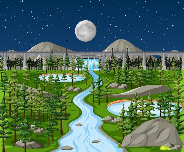 Dam in nature landscape at night scene Premium Vector