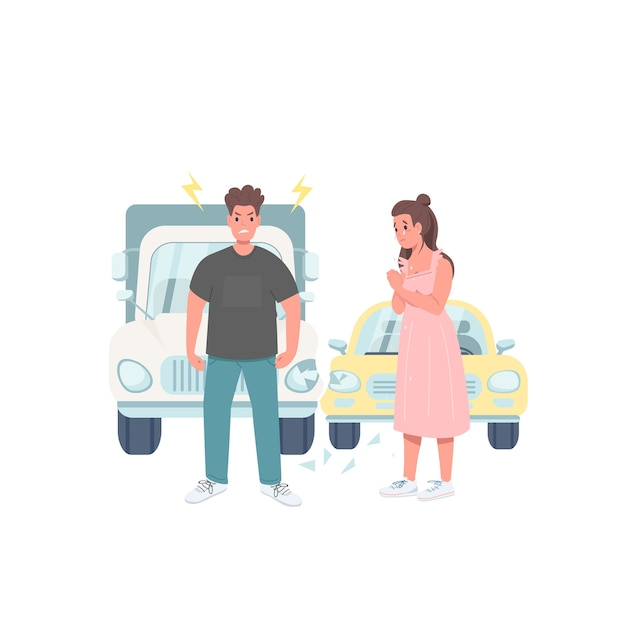 Поврежденные водители автомобилей плоский цвет подробный характер Premium векторы