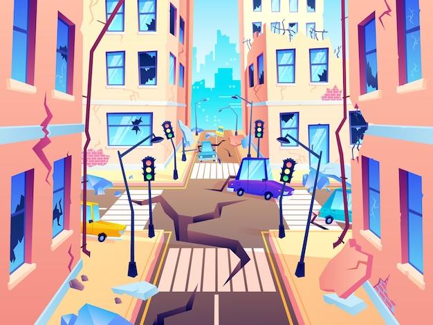 Damaged city street. earthquake damage, cataclysm damages road destruction and destroyed urban crossroad cartoon  illustration Premium Vector