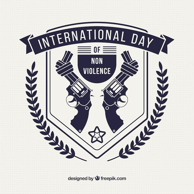 Damaged guns to celebrate the day of non-violence Free Vector