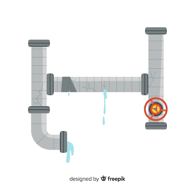 Damaged pipe in flat design Free Vector