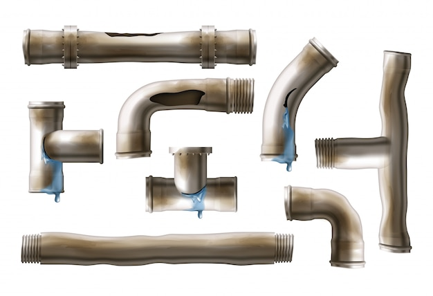 Damaged, rusted steel pipes realistic vector set Free Vector