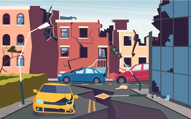 Поврежденный городской пейзаж. природа катаклизм разрушенный город землетрясение проблемы урбанизации потрескавшиеся грунтовые дороги картина Premium векторы
