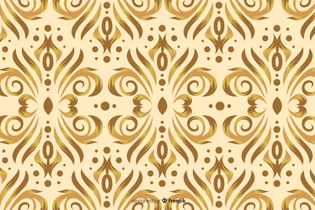 Damask background hand drawn style Free Vector