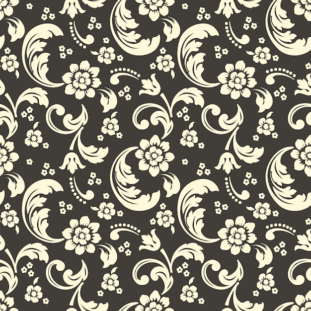 Damask and floral seamless pattern Free Vector