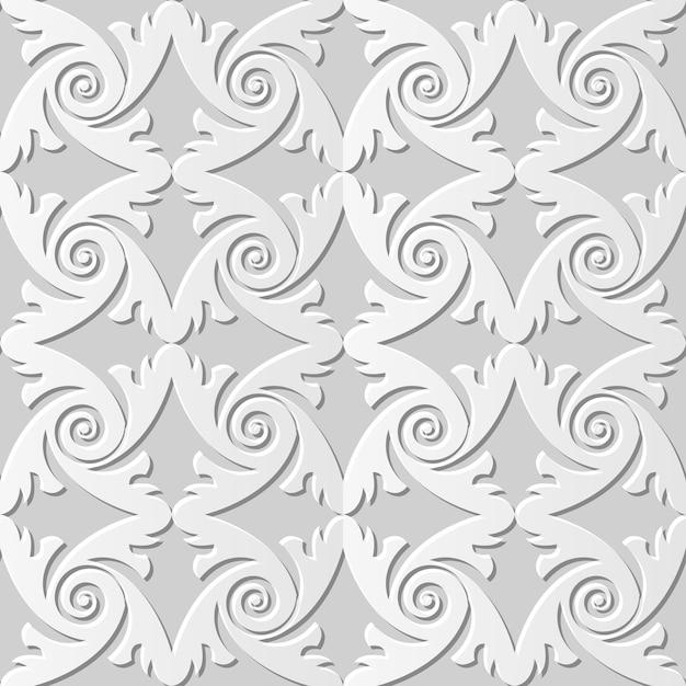 Дамаск бесшовные 3d бумага искусство спираль перо круглый Premium векторы